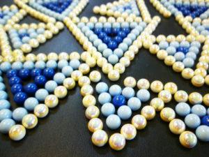 Borchiette a rivetto chiodino in abs sfere color perla azzurro e blu